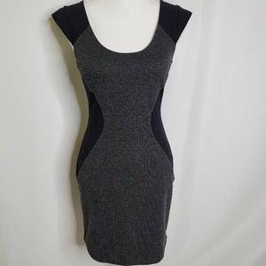 Express Exposed Zipper Tweed Bodycon Dress